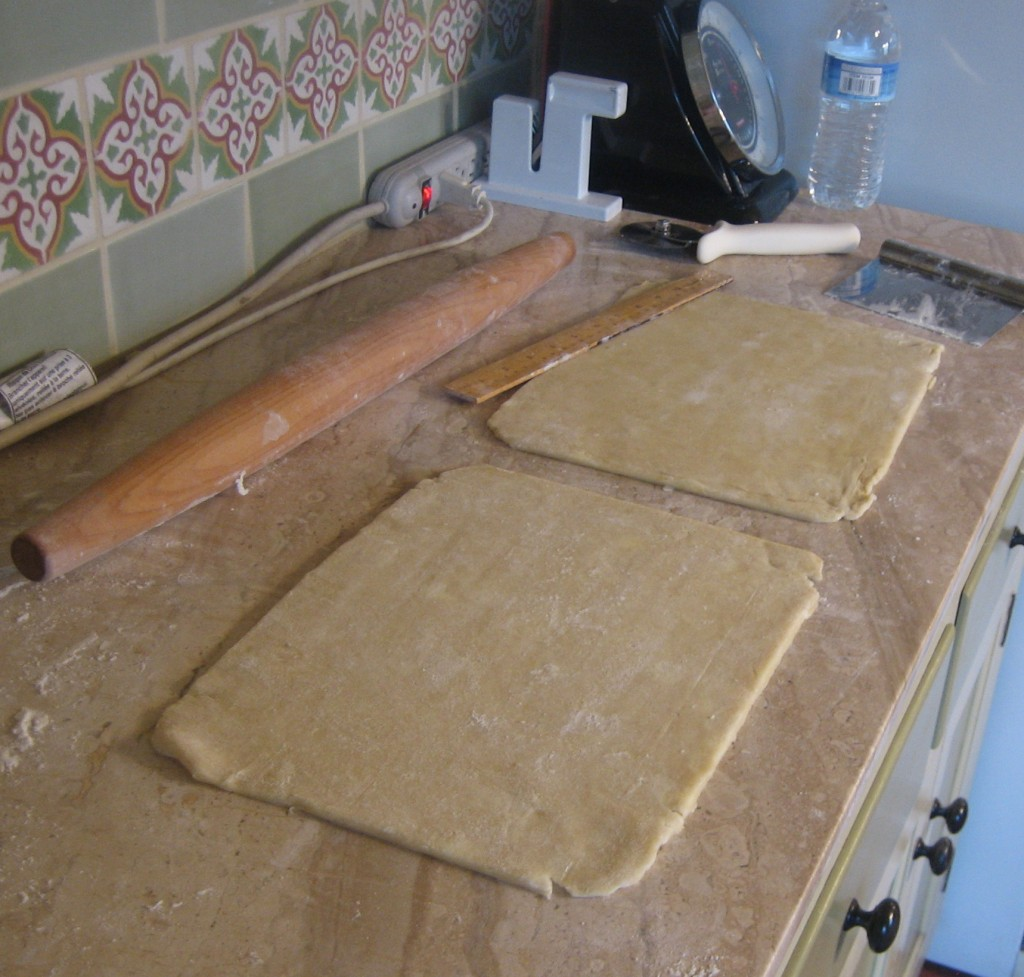Roll the dough slightly larger than you need and cut it down to size